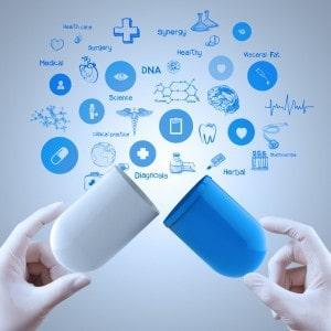 Medicine doctor hands holding capsule medicine